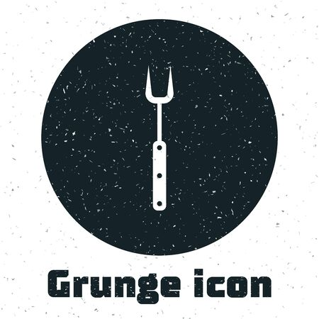 Grunge Barbecue fork icon isolated on white background. BBQ fork sign. Barbecue and grill tool. Vector Illustration Ilustração