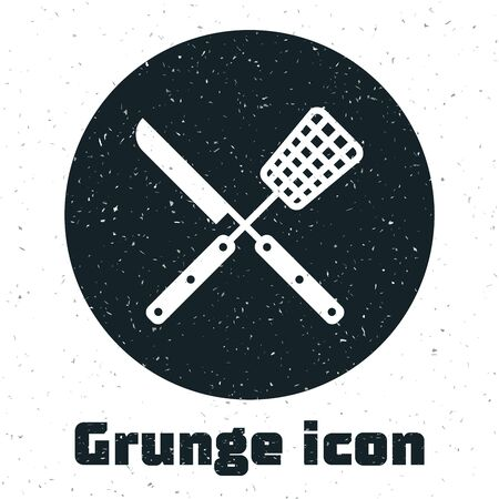 Grunge Crossed knife and spatula icon isolated on white background. BBQ knife and spatula sign. Barbecue and grill tools. Vector Illustration Ilustração
