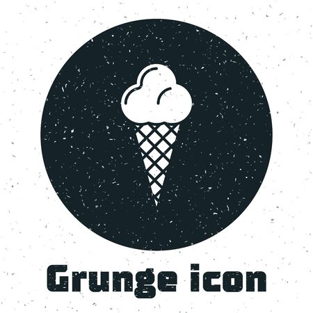Grunge Ice cream in waffle cone icon isolated on white background. Sweet symbol. Vector Illustration