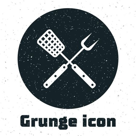 Grunge Crossed fork and spatula icon isolated on white background. BBQ fork and spatula sign. Barbecue and grill tools. Vector Illustration Ilustração