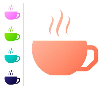 Coral Coffee cup flat icon isolated on white background. Tea cup. Hot drink coffee. Set color icons. Vector Illustration