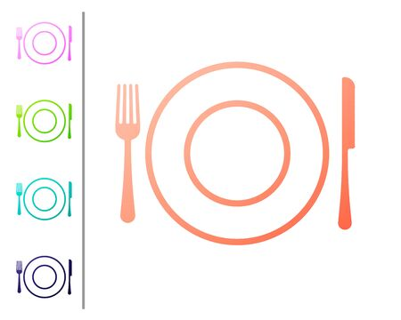 Coral Plate, fork and knife icon isolated on white background. Cutlery symbol. Restaurant sign. Set color icons. Vector Illustration