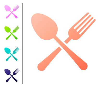 Coral Crossed fork and spoon icon isolated on white background. Cooking utensil. Cutlery sign. Set color icons. Vector Illustration Çizim