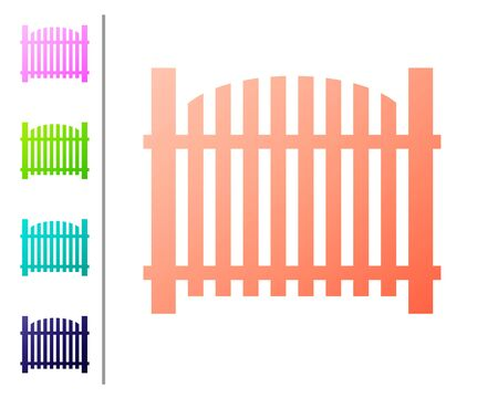 Coral Garden fence wooden icon isolated on white background. Set color icons. Vector Illustration 일러스트
