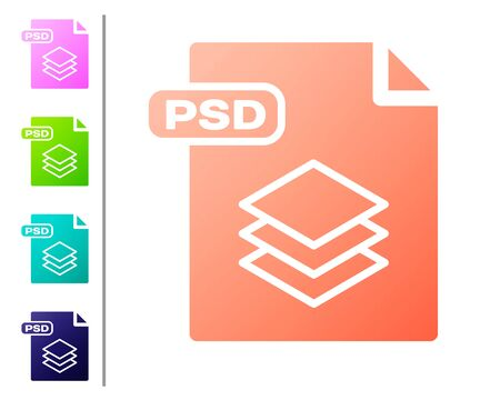 Coral PSD file document. Download psd button icon isolated on white background. PSD file symbol. Set color icons. Vector Illustration