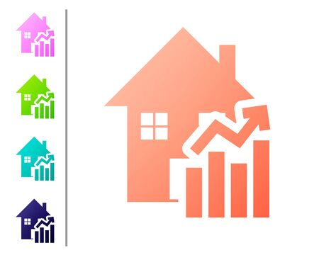 Coral Rising cost of housing icon isolated on white background. Rising price of real estate. Residential graph increases. Set color icons. Vector Illustration