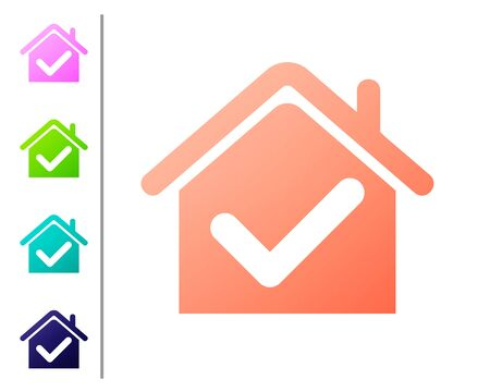 Coral House with check mark icon isolated on white background. Real estate agency or cottage town elite class. Set color icons. Vector Illustration
