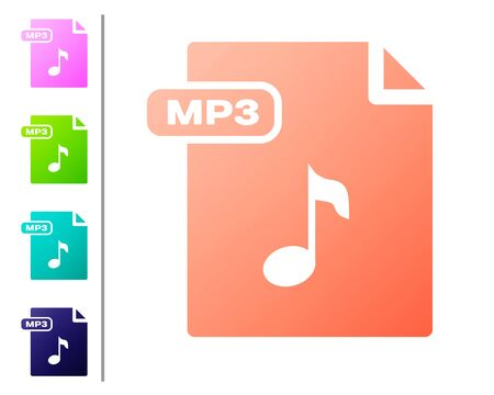 Coral MP3 file document. Download mp3 button icon isolated on white background. Mp3 music format sign. MP3 file symbol. Set color icons. Vector Illustration