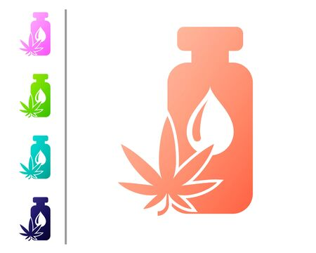 Coral Medical marijuana or cannabis leaf olive oil drop icon isolated on white background. Cannabis extract. Hemp symbol. Set color icons. Vector Illustration Vector Illustration