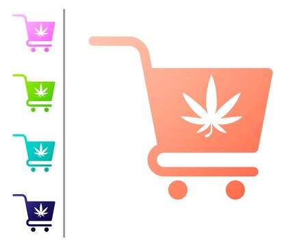 Coral Shopping cart with marijuana or cannabis leaf icon isolated on white background. Online buying. Delivery service. Supermarket basket. Set color icons. Vector Illustration