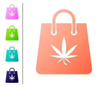 Coral Shopping paper bag of medical marijuana or cannabis leaf icon isolated on white background. Buying cannabis. Hemp symbol. Set color icons. Vector Illustration