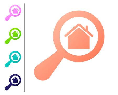Coral Search house icon isolated on white background. Real estate symbol of a house under magnifying glass. Set color icons. Vector Illustration