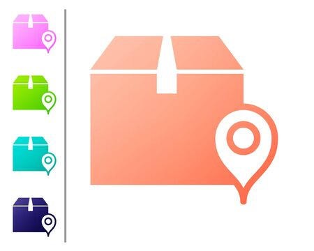 Coral Location with cardboard box icon isolated on white background. Delivery services, logistic and transportation, relocation, distribution. Set color icons. Vector Illustration