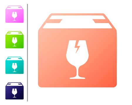 Coral Delivery package box with fragile content symbol of broken glass icon isolated on white background. Box, package, parcel sign. Set color icons. Vector Illustration Vector Illustration