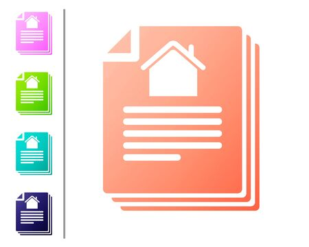 Coral House contract icon isolated on white background. Contract creation service, document formation, application form composition. Set color icons. Vector Illustration Ilustração