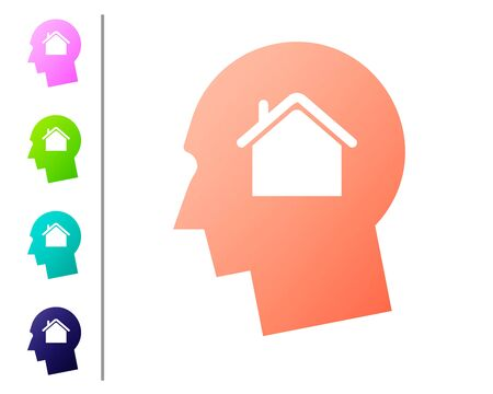 Coral Man dreaming about buying a new house icon isolated on white background. Set color icons. Vector Illustration