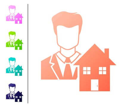 Coral Realtor icon isolated on white background. Buying house. Set color icons. Vector Illustration