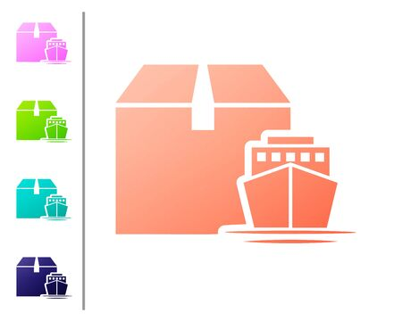 Coral Cargo ship with boxes delivery service icon isolated on white background. Delivery, transportation. Freighter with parcels, boxes, goods. Set color icons. Vector Illustration