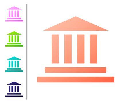 Korallenmuseum Gebäudesymbol isoliert auf weißem Hintergrund. Legen Sie Farbsymbole fest. Vektorillustration
