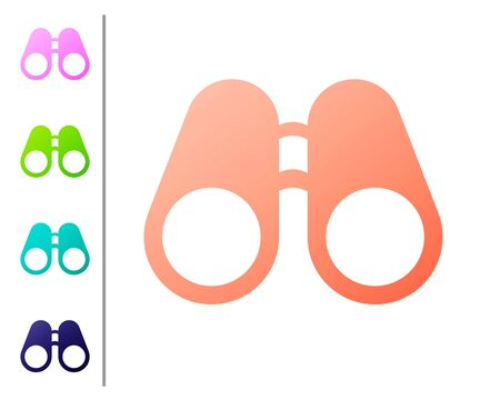 Coral Binoculars icon isolated on white background. Find software sign. Spy equipment symbol. Set color icons. Vector Illustration