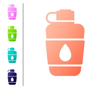Coral Canteen water bottle icon isolated on white background. Tourist flask icon. Jar of water use in the campaign. Set color icons. Vector Illustration