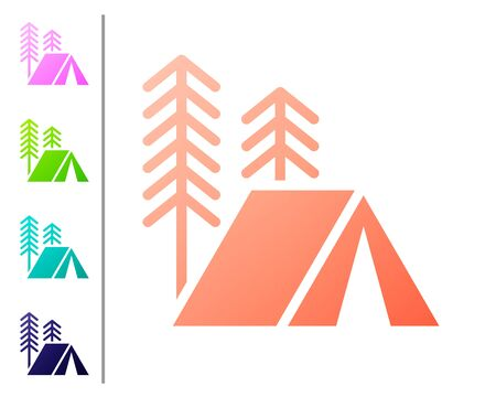 Coral Tourist tent icon isolated on white background. Camping symbol. Set color icons. Vector Illustration
