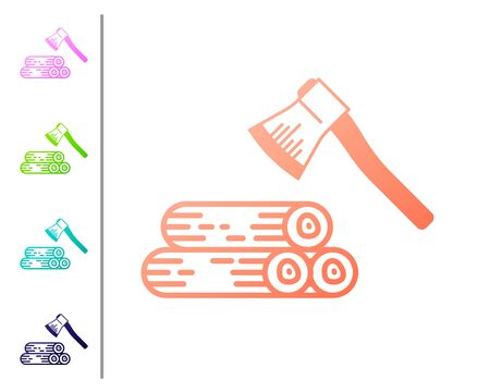 Coral Wooden axe and wood icon isolated on white background. Lumberjack axe. Set color icons. Vector Illustration