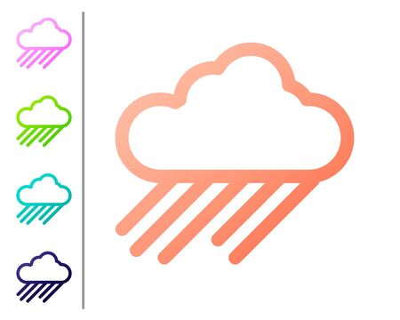 Coral Cloud with rain icon isolated on white background. Rain cloud precipitation with rain drops. Set color icons. Vector Illustration Illustration