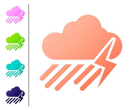 Coral Cloud with rain and lightning icon isolated on white background. Rain cloud precipitation with rain drops.Weather icon of storm. Set color icons. Vector Illustration