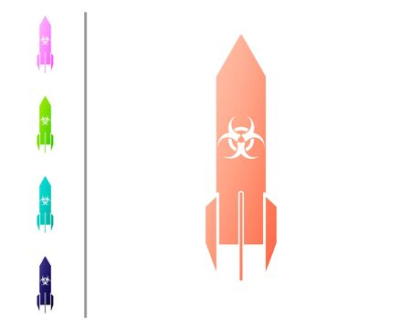 Coral Biohazard rocket icon isolated on white background. Rocket bomb flies down. Set color icons. Vector Illustration Stock Illustratie