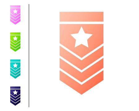 Coral Chevron icon isolated on white background. Military badge sign. Set color icons. Vector Illustration