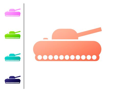 Coral Military tank icon isolated on white background. Set color icons. Vector Illustration 向量圖像