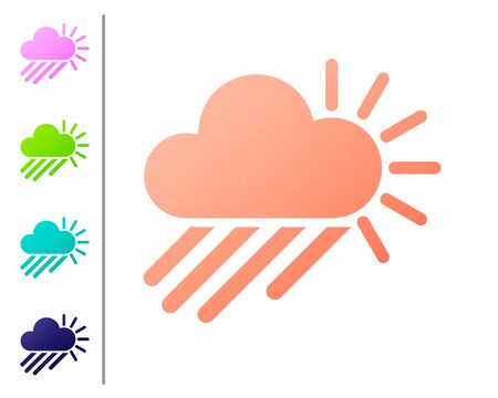 Coral Cloudy with rain and sun icon isolated on white background. Rain cloud precipitation with rain drops. Set color icons. Vector Illustration Illustration