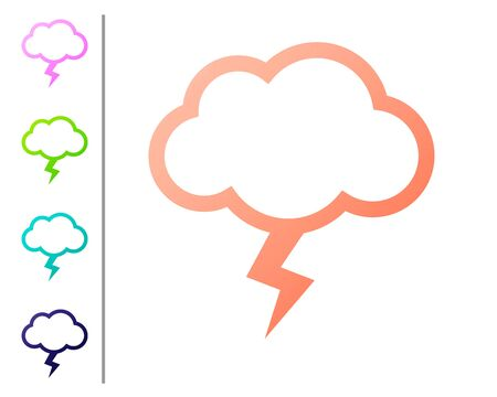 Coral Storm icon isolated on white background. Cloud and lightning sign. Weather icon of storm. Set color icons. Vector Illustration
