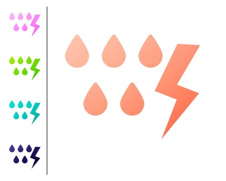 Coral Storm icon isolated on white background. Drop and lightning sign. Weather icon of storm. Set color icons. Vector Illustration Illustration
