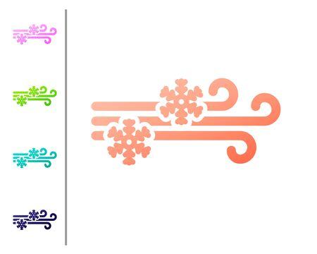 Coral Wind and snow icon isolated on white background. Windy weather. Set color icons. Vector Illustration