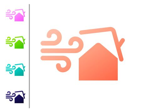 Coral Tornado swirl damages house roof icon isolated on white background. Cyclone, whirlwind, storm funnel, hurricane wind icon. Set color icons. Vector Illustration
