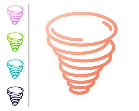Coral Tornado icon isolated on white background. Cyclone, whirlwind, storm funnel, hurricane wind or twister weather icon. Set color icons. Vector Illustration