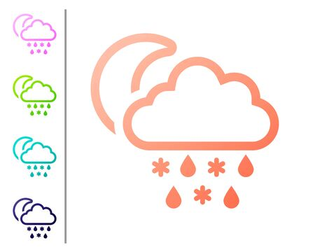 Coral Cloud with snow and rain icon isolated on white background. Weather icon. Set color icons. Vector Illustration