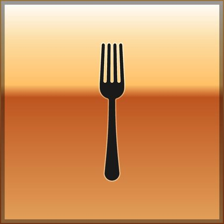 Black Fork icon isolated on gold background. Cutlery symbol. Vector Illustration
