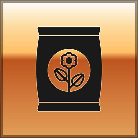 Black Fertilizer bag icon isolated on gold background. Vector Illustration Vettoriali