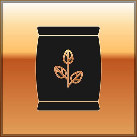 Icona del sacchetto di fertilizzante nero isolato su priorità bassa dell'oro. illustrazione vettoriale