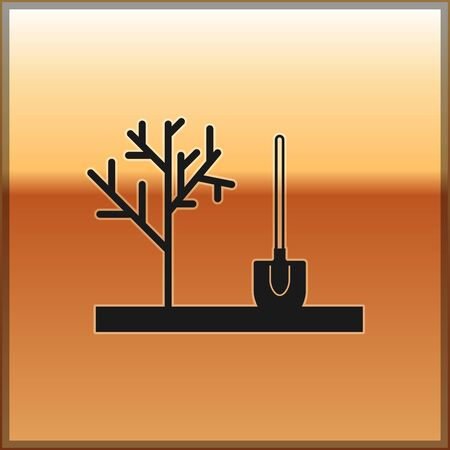 Black Planting a tree in the ground icon isolated on gold background. Gardening, agriculture, caring for environment. Vector Illustration