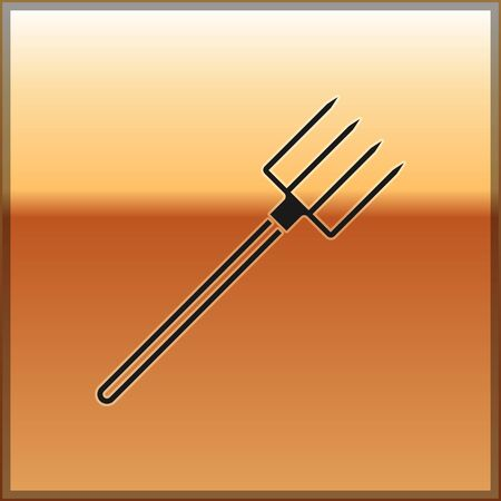 Black Garden pitchfork icon isolated on gold background. Garden fork sign. Tool for horticulture, agriculture, farming. Vector Illustration Stock Illustratie