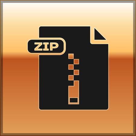 Black ZIP file document. Download zip button icon isolated on gold background. ZIP file symbol. Vector Illustration Stock Illustratie