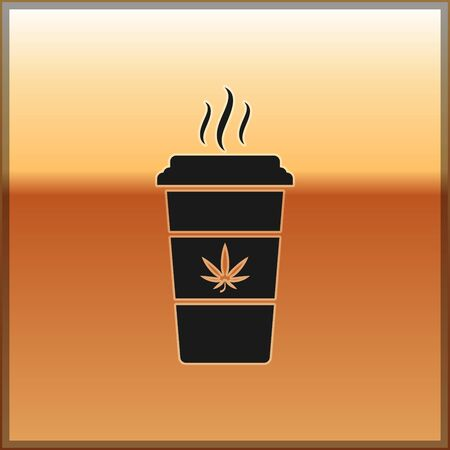 Black Cup coffee with marijuana or cannabis leaf icon isolated on gold background. Marijuana legalization. Hemp symbol. Vector Illustration Illustration