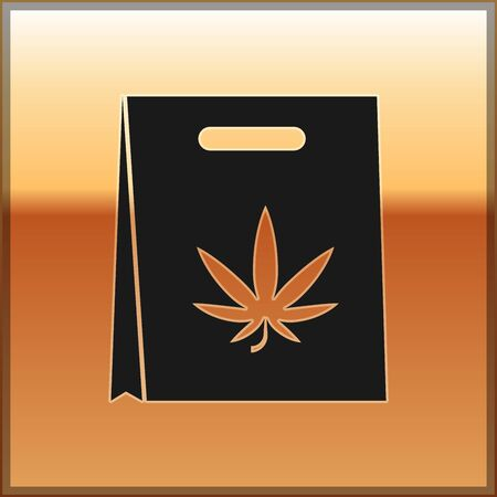 Black Shopping paper bag of medical marijuana or cannabis leaf icon isolated on gold background. Buying cannabis. Hemp symbol. Vector Illustration
