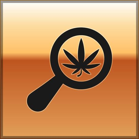 Black Magnifying glass and medical marijuana or cannabis leaf icon isolated on gold background. Hemp symbol. Vector Illustration