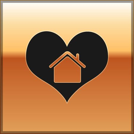 Black House with heart shape icon isolated on gold background. Love home symbol. Family, real estate and realty. Vector Illustration