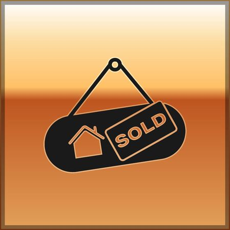 Black Hanging sign with text Sold icon isolated on gold background. Sold sticker. Sold signboard. Vector Illustration